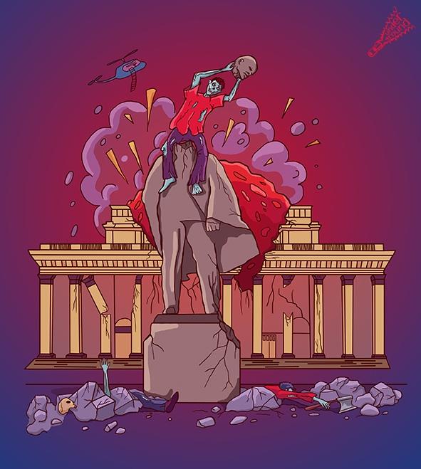 Первой картинкой стал памятник Ленину в обществе зомби