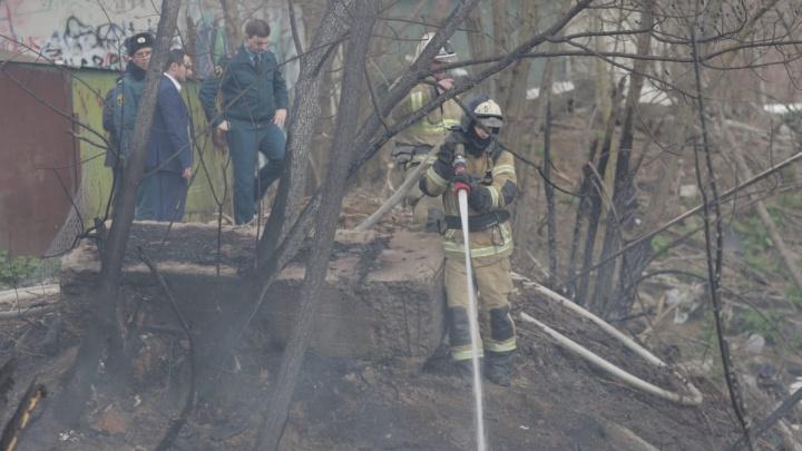 В Ростове на СЖМ загорелся камыш возле женского монастыря