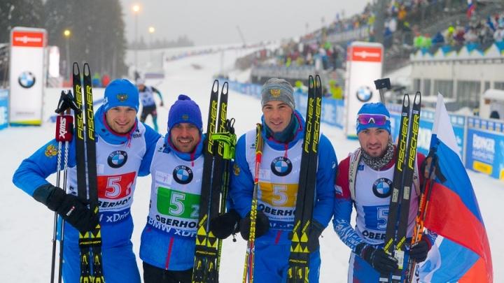 Тюменские биатлонисты Гараничев и Логинов взяли бронзу в составе сборной на этапе Кубка мира