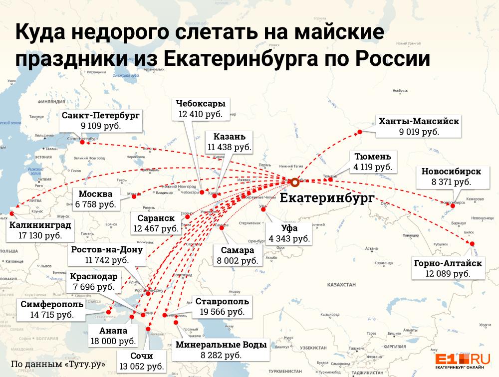В отпуск недорого: куда и за сколько можно улететь из Екатеринбургана майские праздники