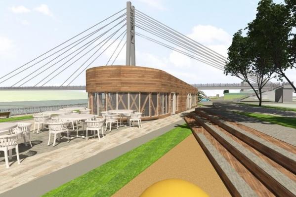 На берегу построят здание, в котором расположится кафе и пункт проката