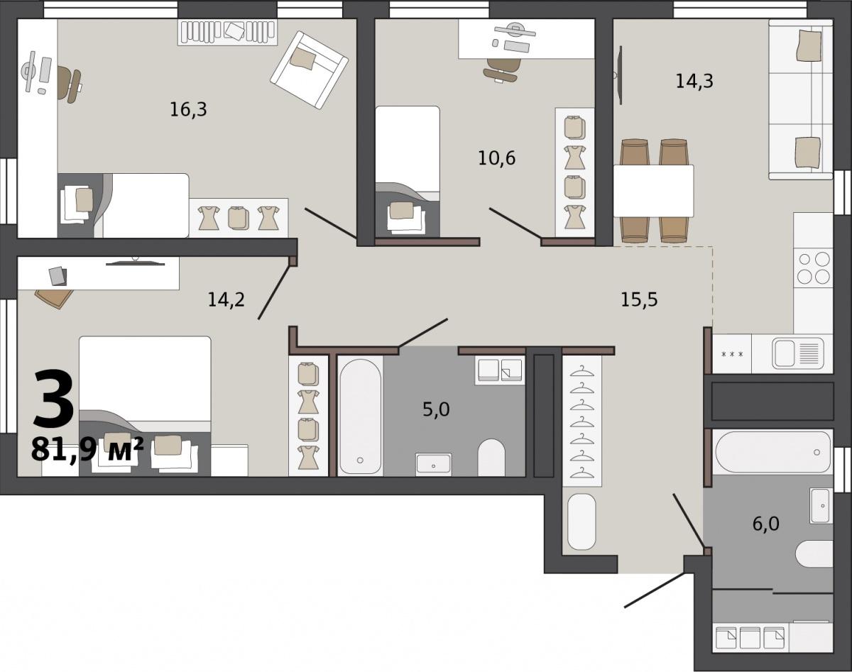 Для большой семьи подойдет квартира с кухней-гостиной и тремя спальнями