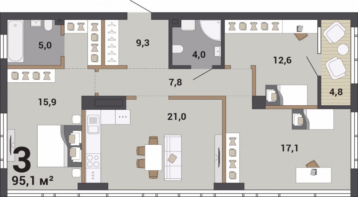 Трёхкомнатную квартиру можно разделить на родительскую зону с мастер-спальней, детскую и общее пространство для всей семьи — кухню-гостиную