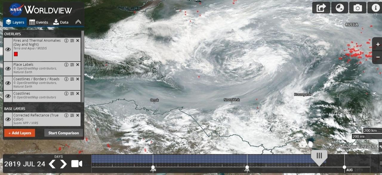 Сейчас Сибирь выглядит из космоса вот так. Бежать, видимо, бессмысленно. Запах гари чувствуется даже в Екатеринбурге