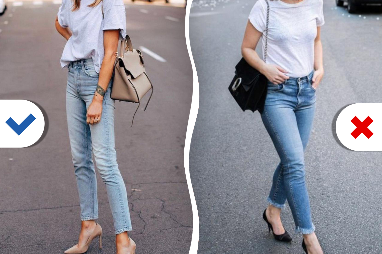 Если подбираете к джинсам простую футболку, более выигрышными будут модели со свободным рукавом до предплечья — в таком случае женская рука смотрится изящней