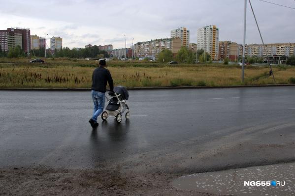 Динис с коляской переходит дорогу —пешеходного перехода здесь нет