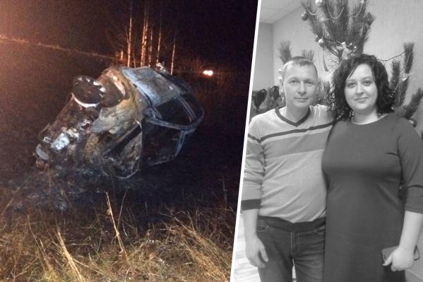 После лобового столкновения машина, в которой ехала семья с детьми, перевернулась и загорелась
