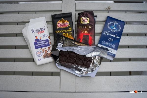 Для эксперимента мы взяли горький шоколад разных производителей