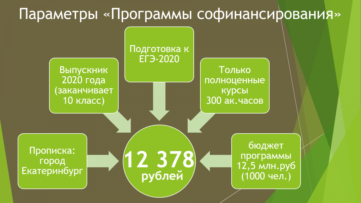Ключевые параметры «Программы софинансирования довузовской подготовки выпускников города Екатеринбурга»
