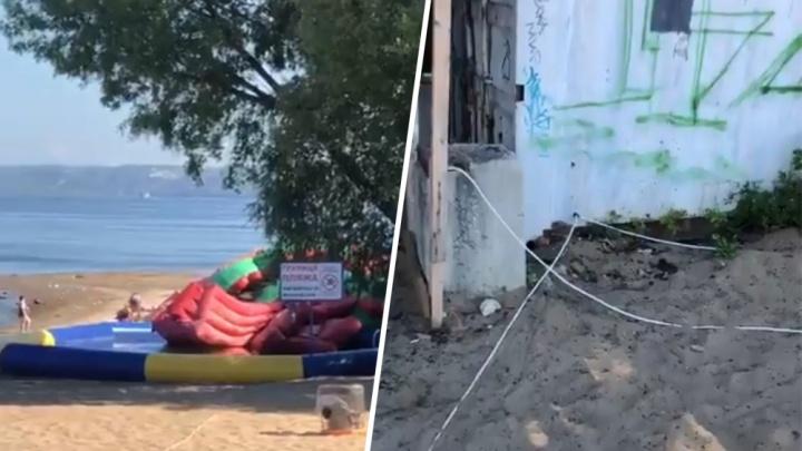 «Торчат оголенные провода»: на самарском пляже обнаружили кустарный аквапарк