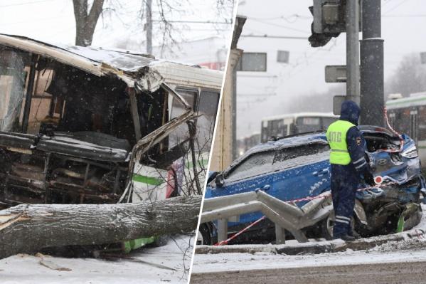 Утром на Московском проспекте разбились несколько автобусов и машин