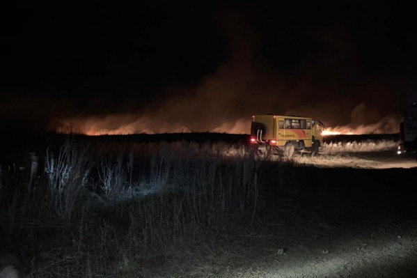 С огнем на поле под Благовещенском всю ночь боролись 150 пожарных
