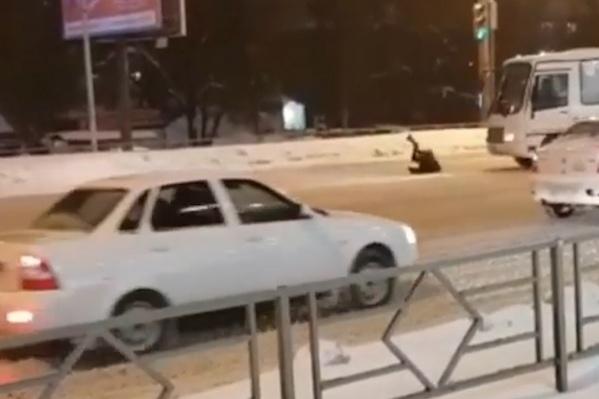 Пешеход сильно ударился об автобус