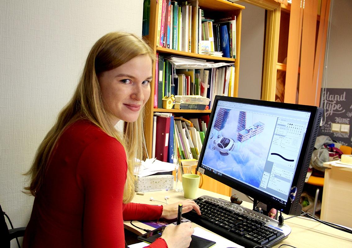 Художница Ольга Пушкарёва рисует все истории на компьютере