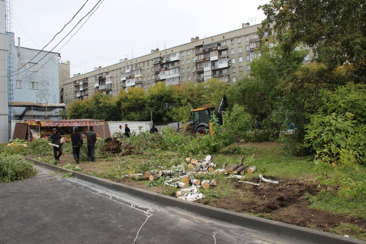 С утра у ЦУМа вырубают деревья