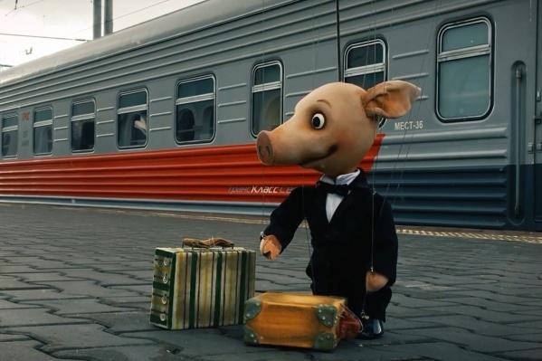 В Архангельск поросёнок приехал вместе с труппой саратовского театра «Теремок»