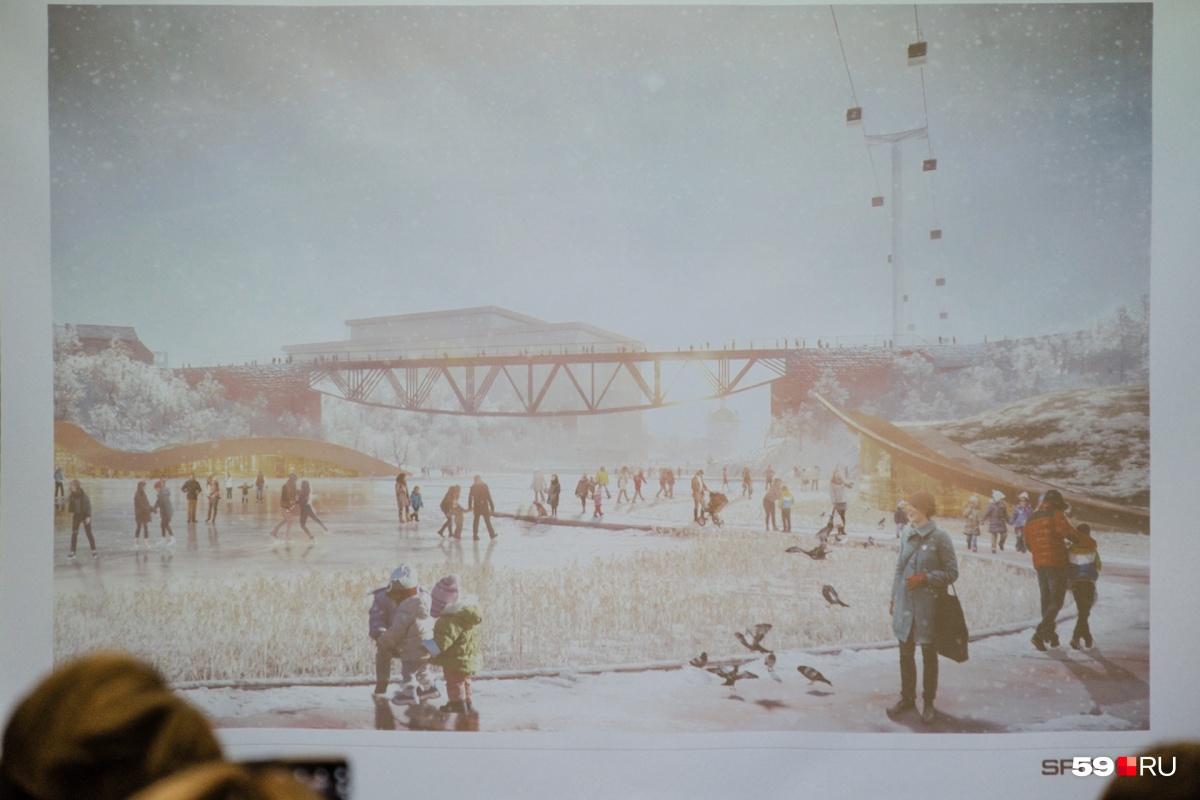 Над Егошихинским мостом виден фуникулёр