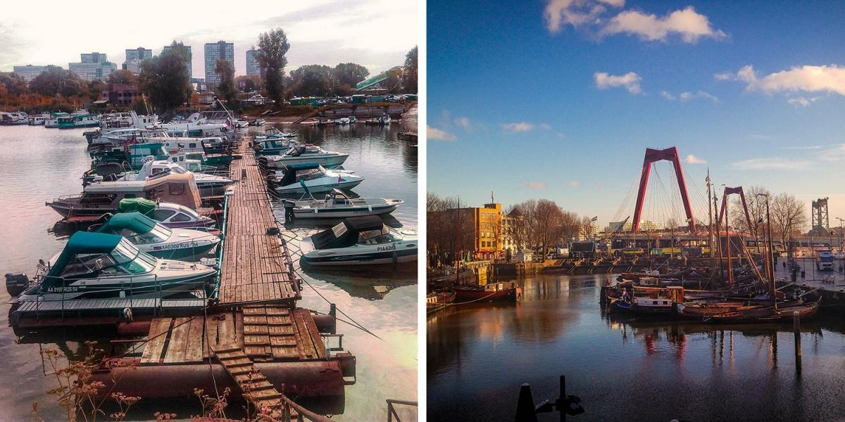 Слева — Новосибирск Справа — Роттердам