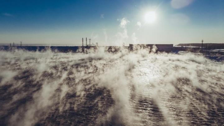 Морозная красота: новосибирец снял шикарное видео с парящей Обью с высоты