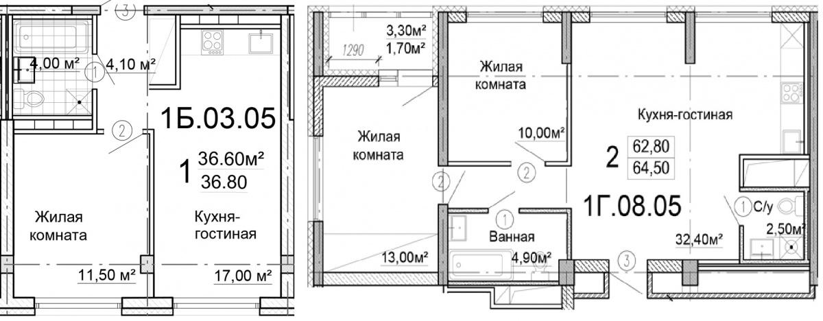 Слева — однокомнатная квартира  36,8  м²стоимостью 2 704 800 руб. Справа — двухкомнатная квартира 64,5  м²стоимостью  4 644 000 руб.