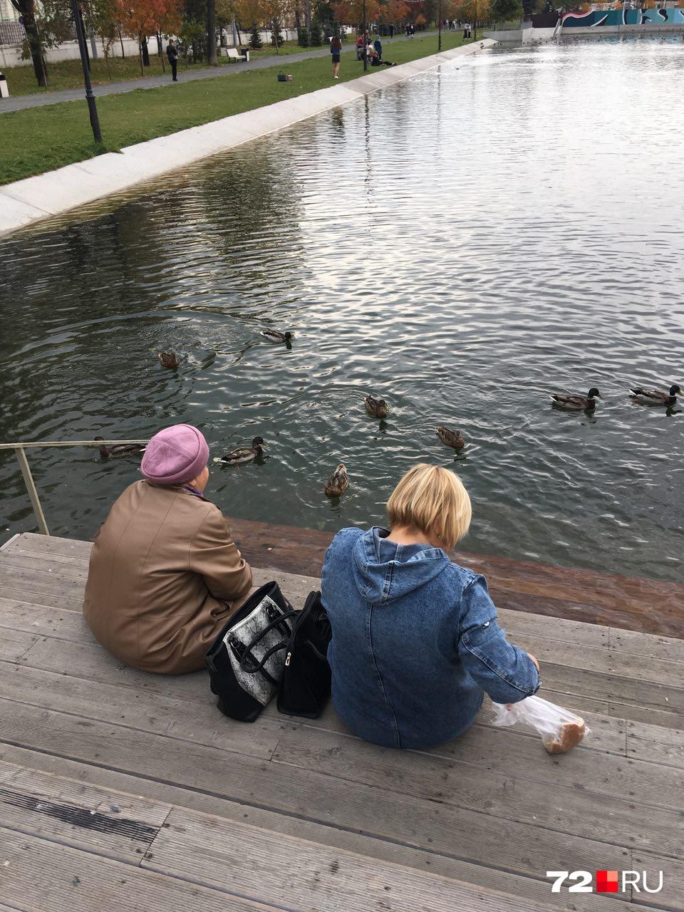 Местные приходят на «Черное озеро» покормить уточек
