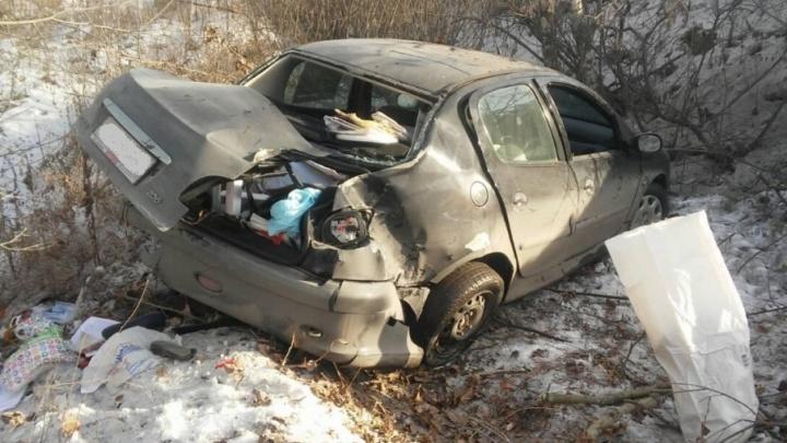 В Челябинске женщина-водитель слетела с дороги