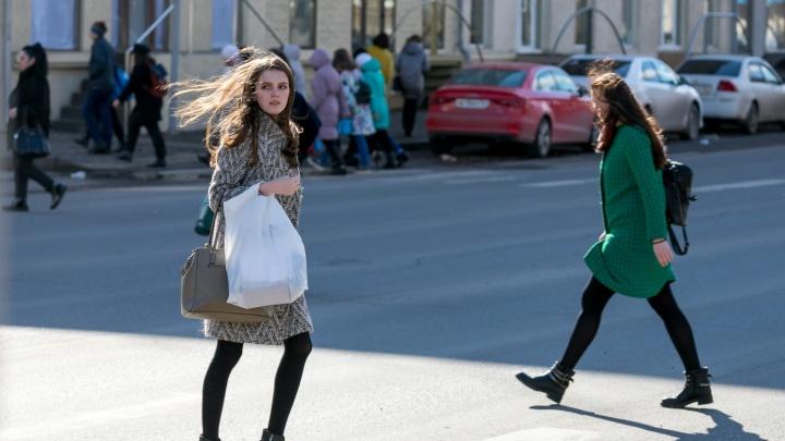 Сильный ветер в Красноярске сорвал вывеску и сломал фонари в Солнечном