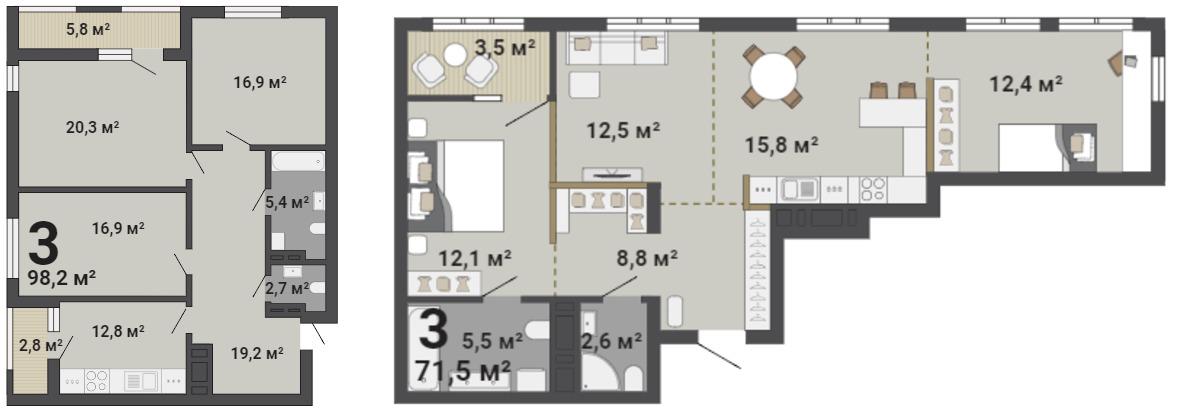 Вариант зонирования и обустройства трёхкомнатной квартиры в синем доме «Малевича»