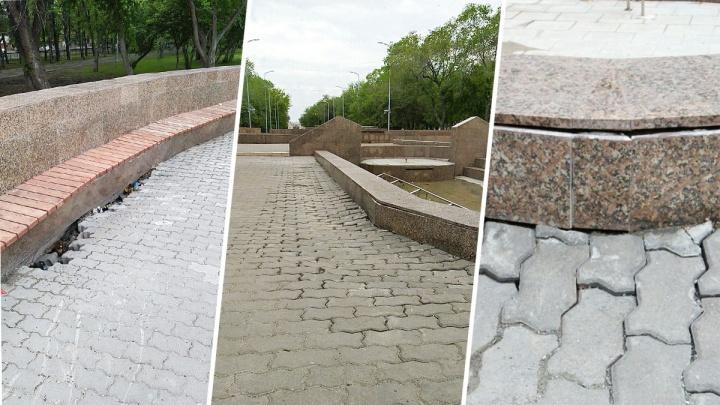 Под окнами администрации в Челябинске начал рассыпаться отремонтированный за девять миллионов фонтан