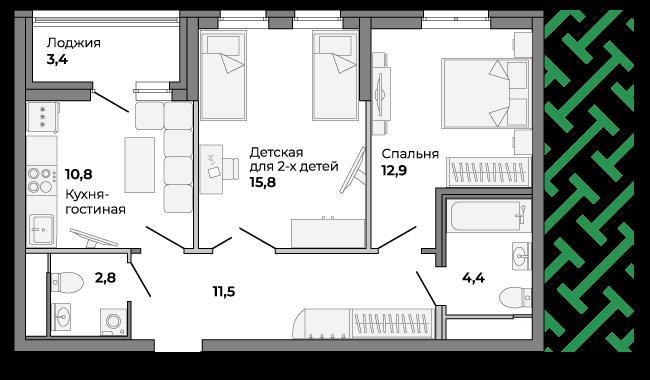Детскую в такой квартире можно зонировать как с использованием перегородок, так и с помощью дизайна в разных стилях