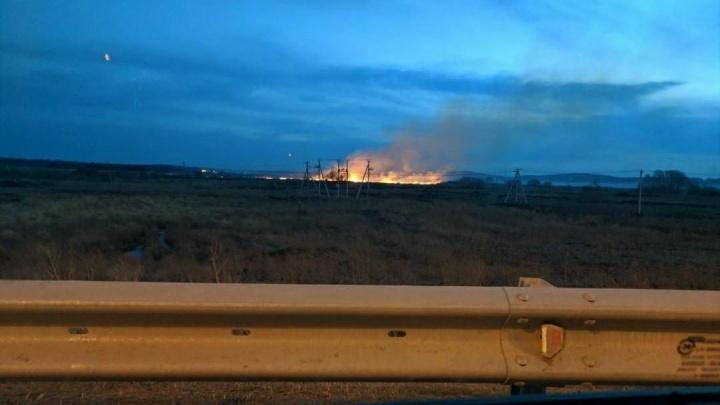 «Площадь большая»: за ЕКАДом рядом с микрорайоном Солнечный загорелось поле
