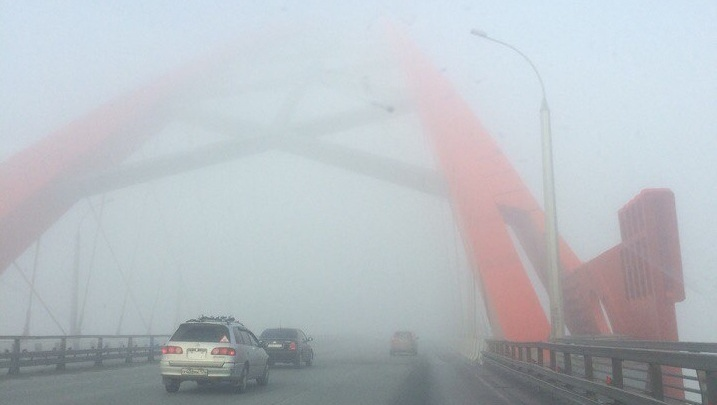 Утренний Новосибирск погрузился в туман