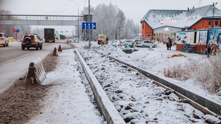 Вдоль федеральной трассы Тюмень — Екатеринбург зимой решили сделать тротуары