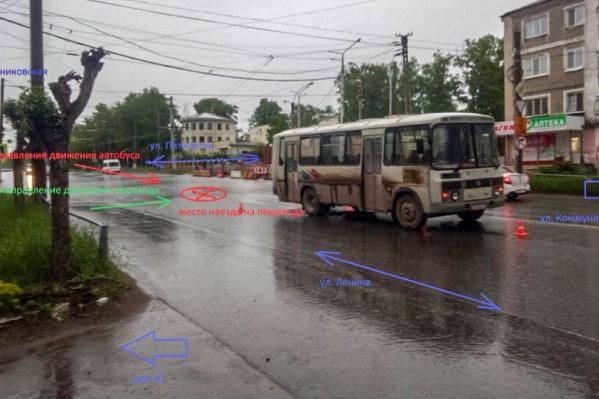 Схема движения автобуса и пешехода