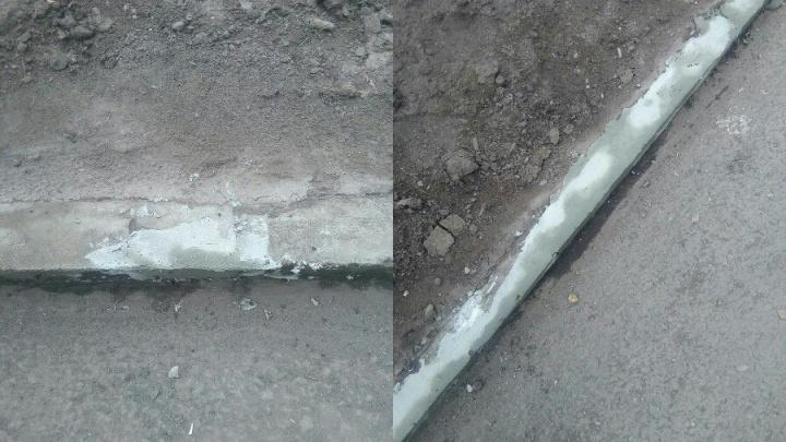 В «Солнечном» старые разбитые бордюры замазали шпаклёвкой
