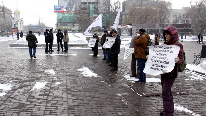 На экологический пикет пришли семеро общественников и четверо полицейских