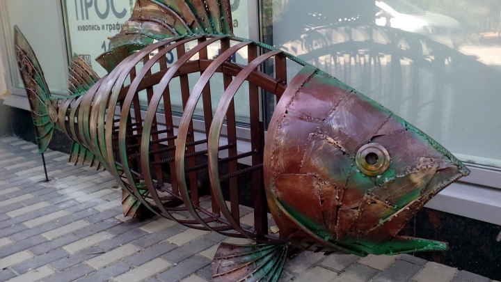 В Волгограде у музея изо имени Машкова поставили большую рыбу для велосипедов