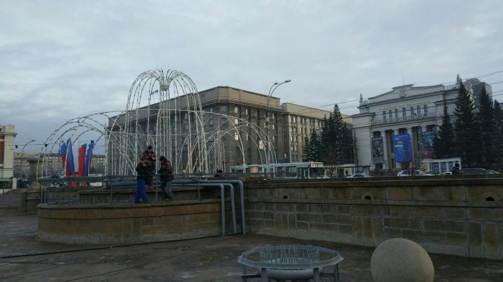 В Первомайском сквере поставили световой фонтан