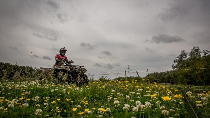 Гонщики на машинах и квадроциклах устроили заезды по грязи и воде под Новосибирском