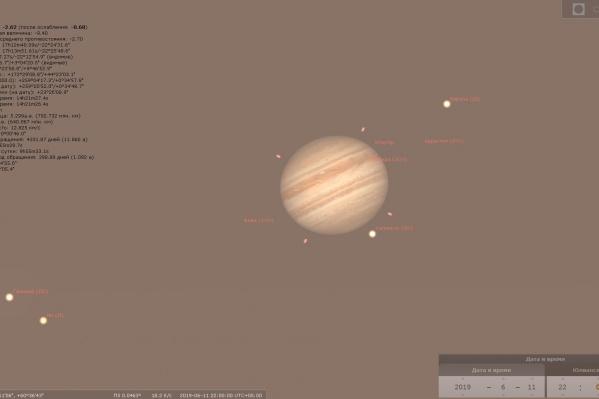 Проще всего разглядеть Юпитер ночью
