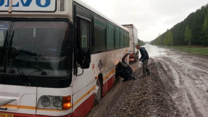 На трассе в Омской области застрял большой автобус с пассажирами. Теперь они ждут трактор