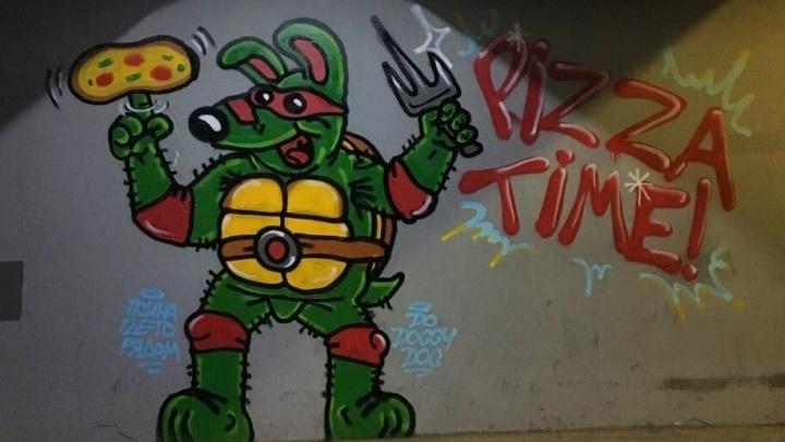 Уличный художник нарисовал «Ленивого пса» в образе черепашки-ниндзя в переходе на Белинского