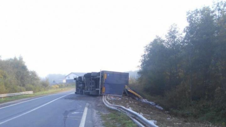 Ночью в Ярославской области фура влетела в дорожное ограждение: есть пострадавший