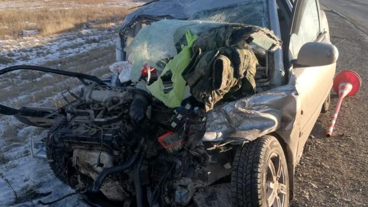 «Папа ехал в Тюмень»: KIA лоб в лоб столкнулась с фурой на трассе Челябинск — Курган