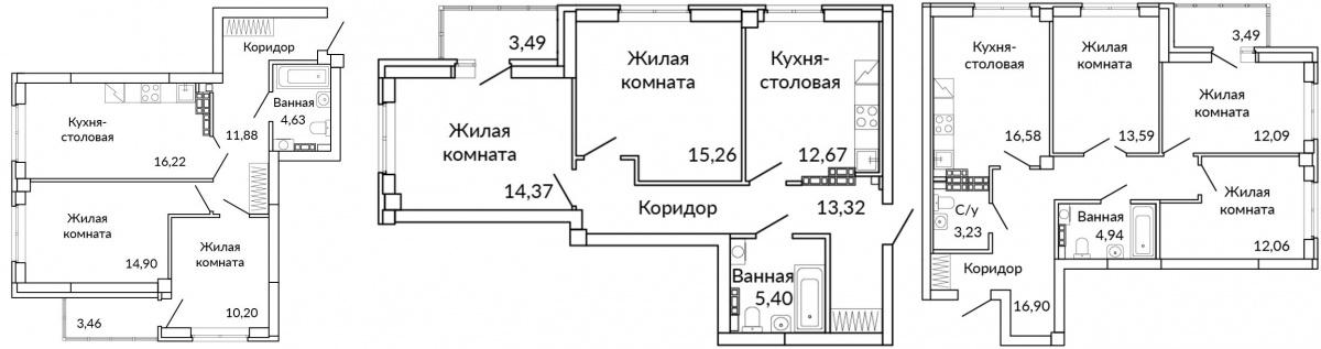 Семейные квартиры представлены несколькими вариантами планировок с окнами на разные стороны света