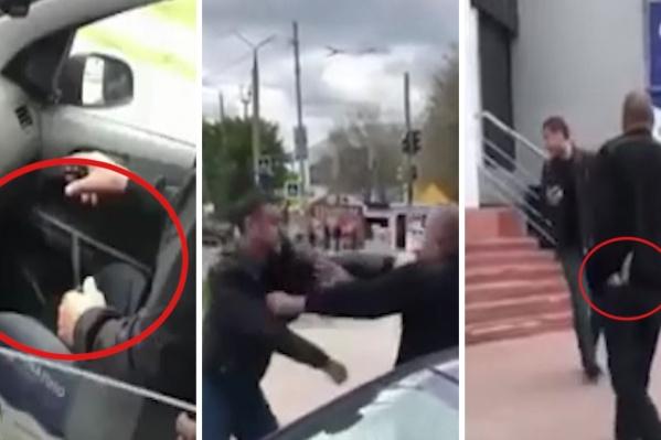 Судя по ролику, уверенно таксист себя чувствовал только с ножом в руках