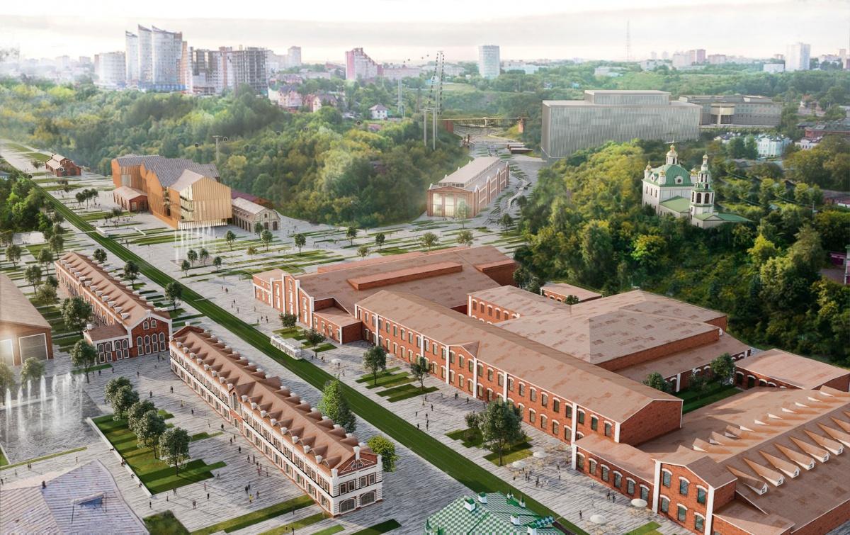 На проект видны здания трёх музеев и нового театра