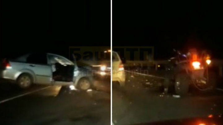 На трассе в Башкирии квадроцикл протаранил иномарку