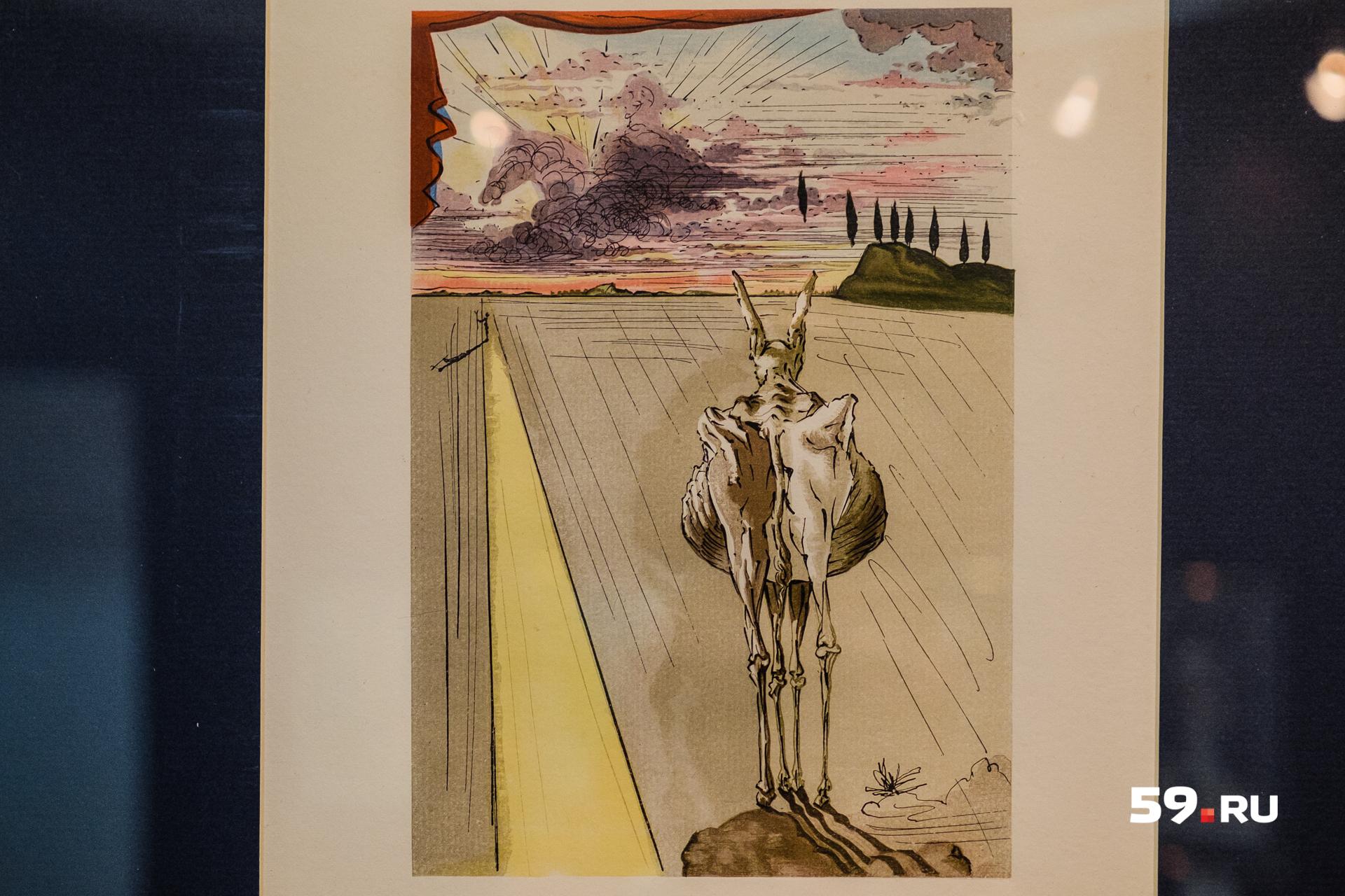 Худой осел символизирует в работах Дали родную страну художника, ее беды и несчастья