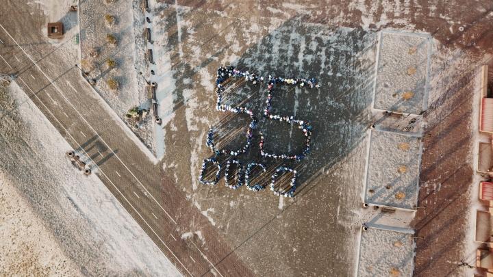 На территории «Омской крепости» студенческие отряды выстроились в цифру 55